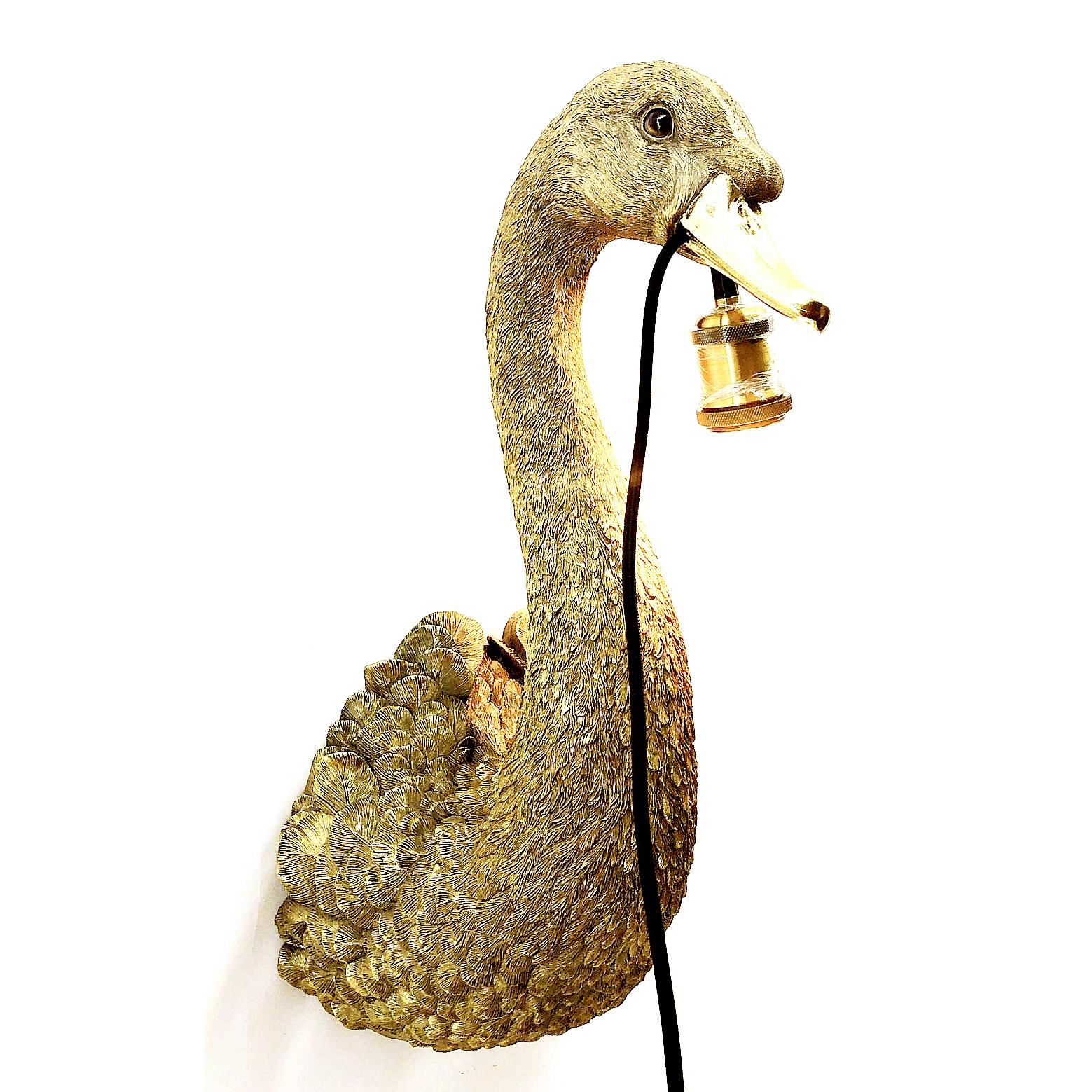 Gouden zwaan wandlamp