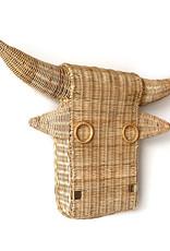Rattan bull head wall decoration