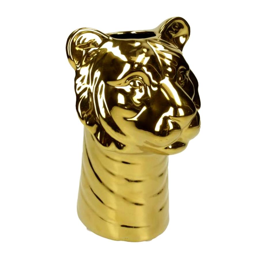 Gold ceramic tiger vase