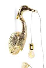 Gold heron bird wall light