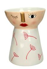 Vrouw figuur bloempot van keramiek