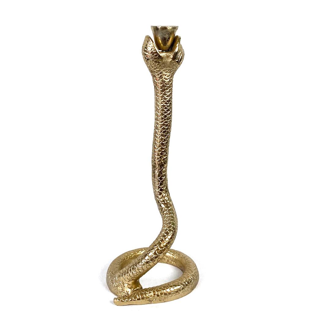 Gold metal snake candlestick