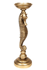Gold seahorse candle holder