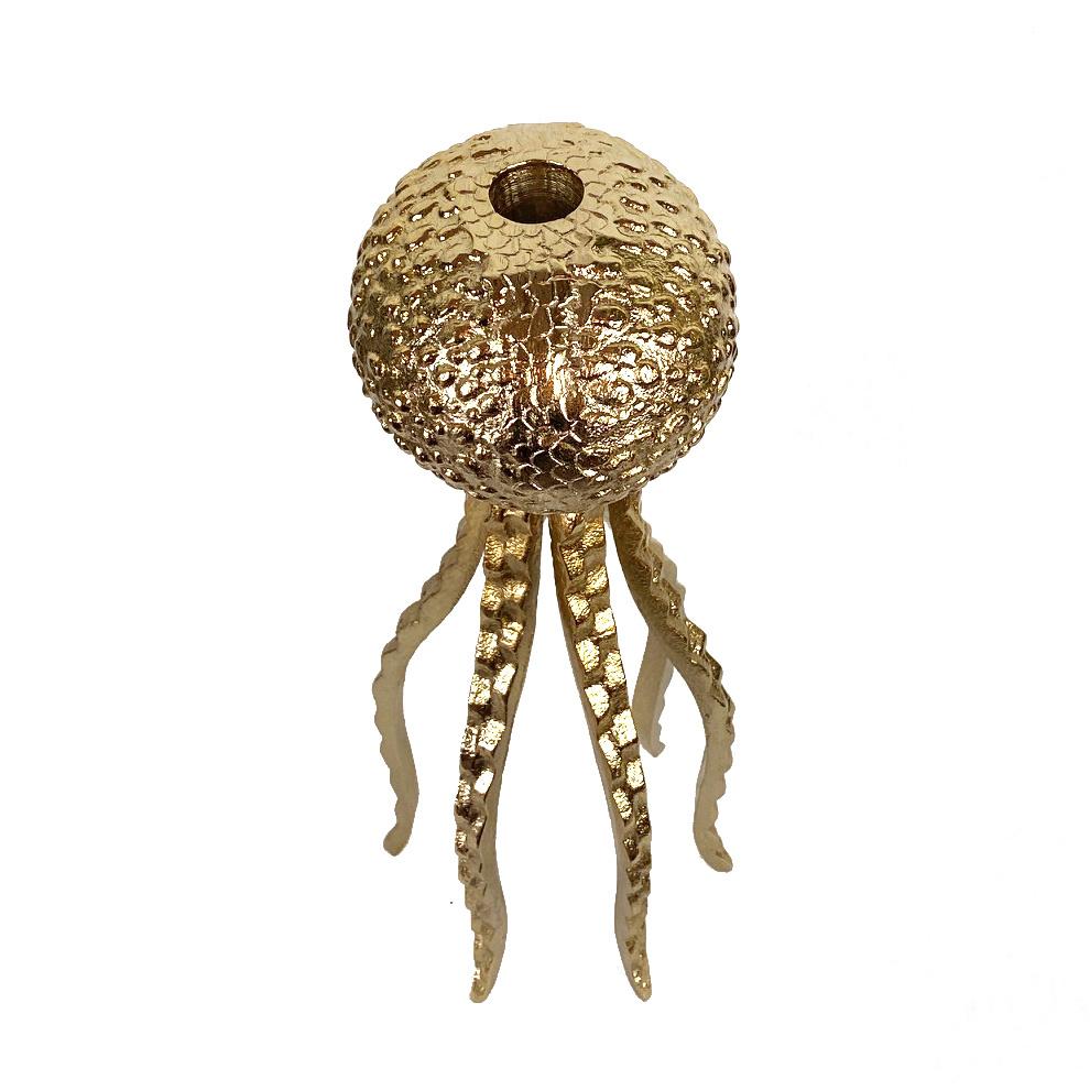 Gouden octopus kandelaar