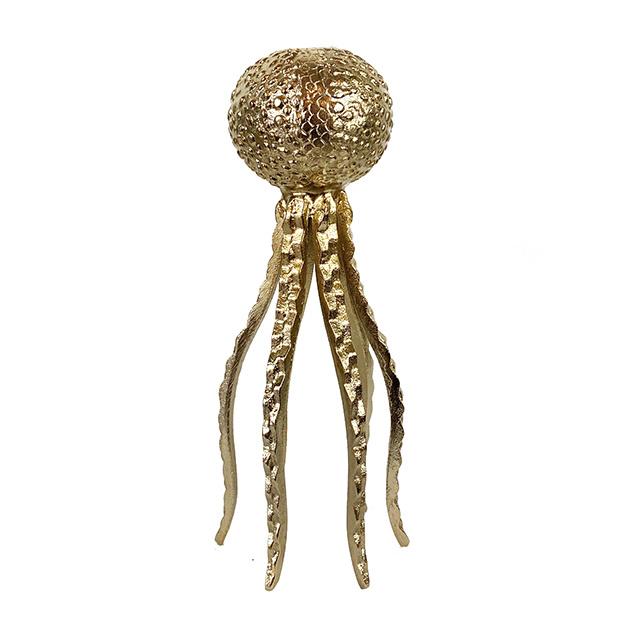 Gold metal octopus candlestick