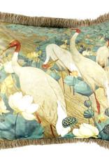 Velvet cushion with crane birds print and fringes