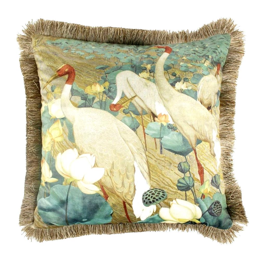 Fluweel sierkussen met kraanvogel print en franjes
