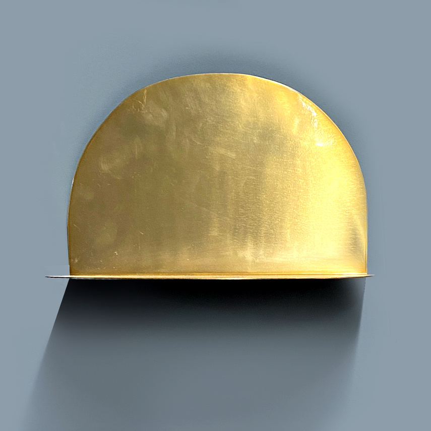 "Round gold metal wall shelf ""Moon"""