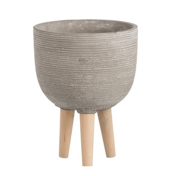 Grijze bloempot van keramiek op houten poten