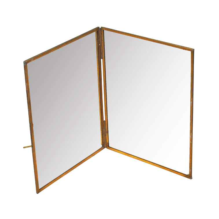 Gold standing table mirror
