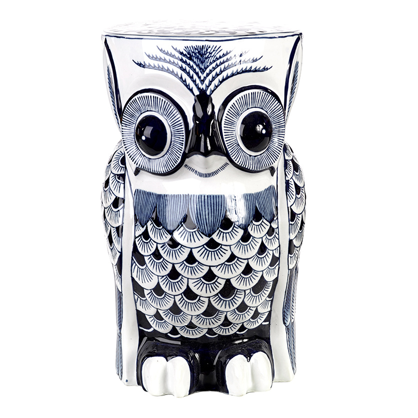 Ceramic owl table or stool