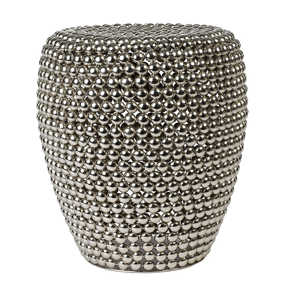 "Silver metal side table ""Dot"""