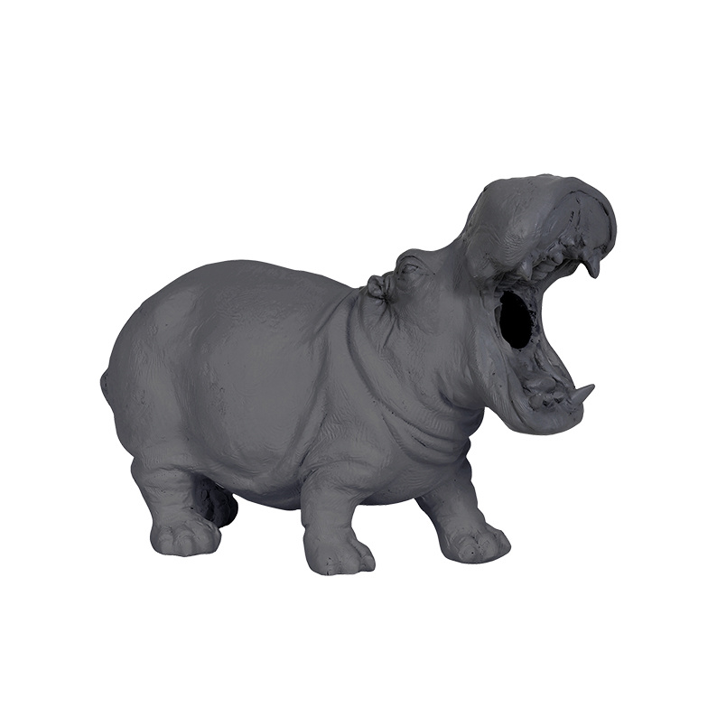 Grey hippo table lamp