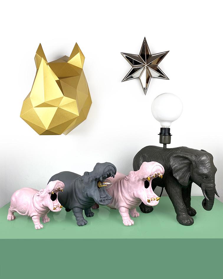 Roze hippo tafellamp