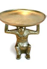 Aap bijzettafeltje van goud metaal