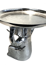 Nickel metal elephant side table
