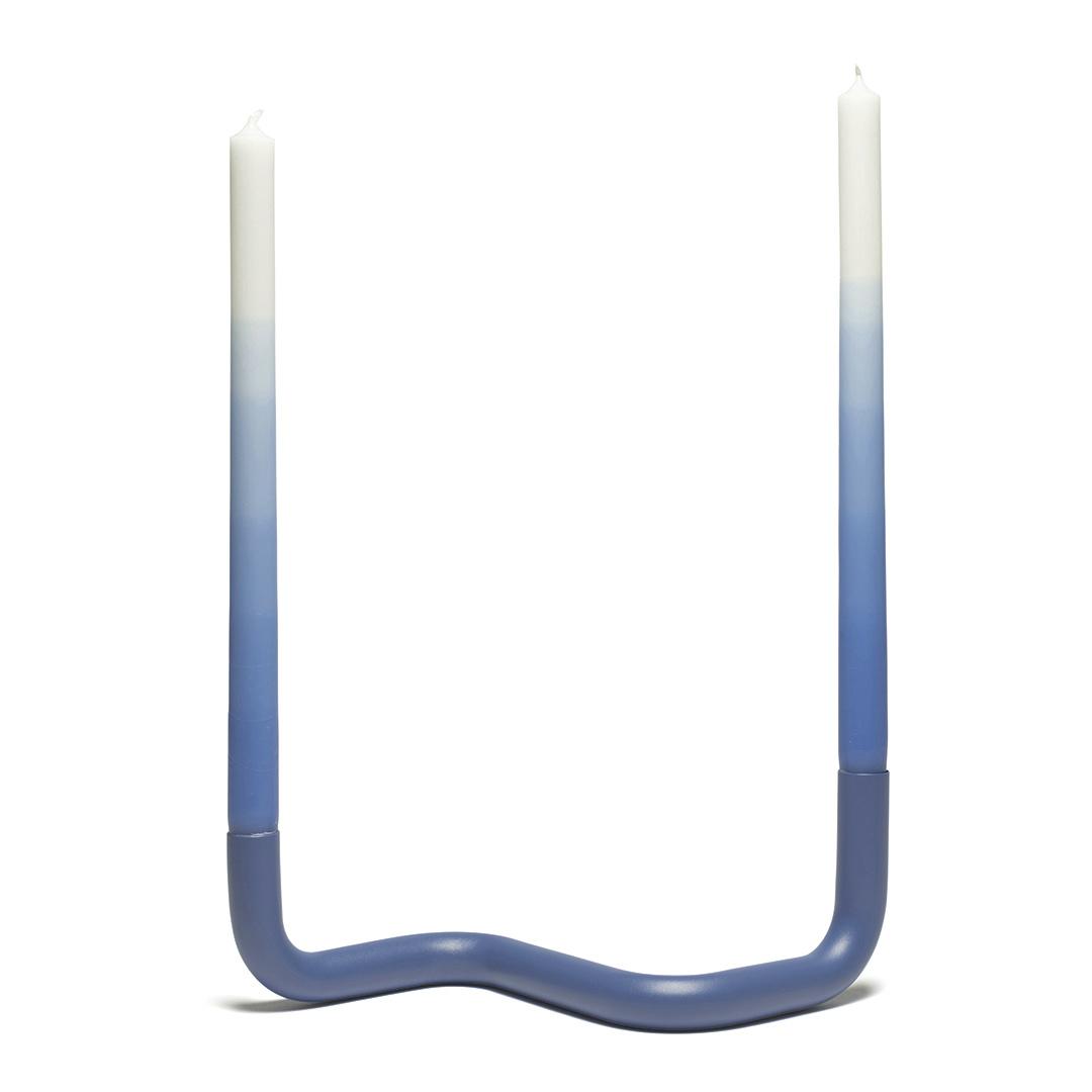 """Modern design candle holder """"Bend"""" in blue"""