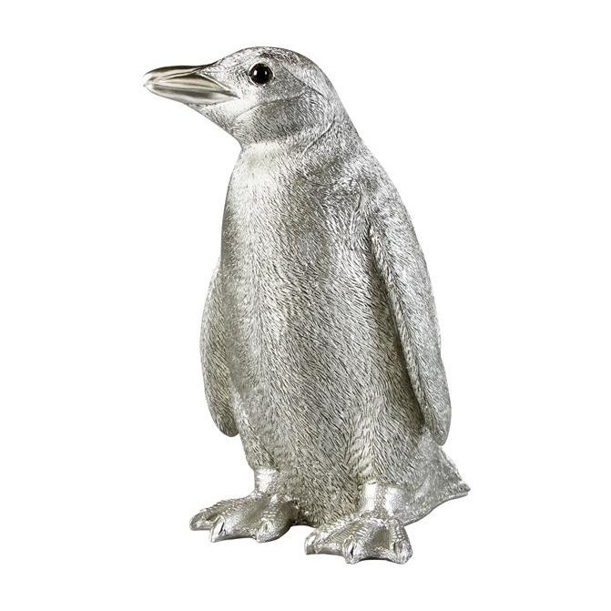 Silver penguin money bank