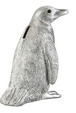 Zilveren pinguïn spaarpot