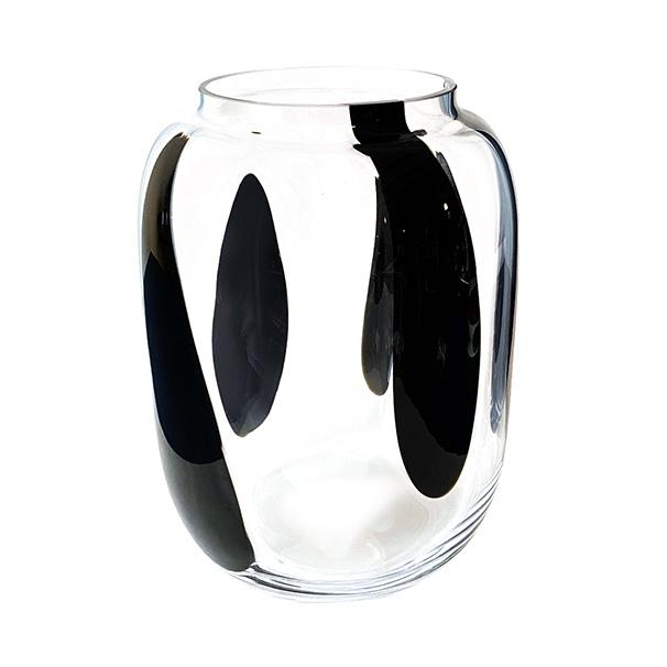 """Design vaas van glas met zwarte strepen """"Zebra"""""""
