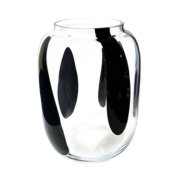 Modern design glass vase with black stripes