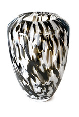 Modern design glass vase with white and brown spots