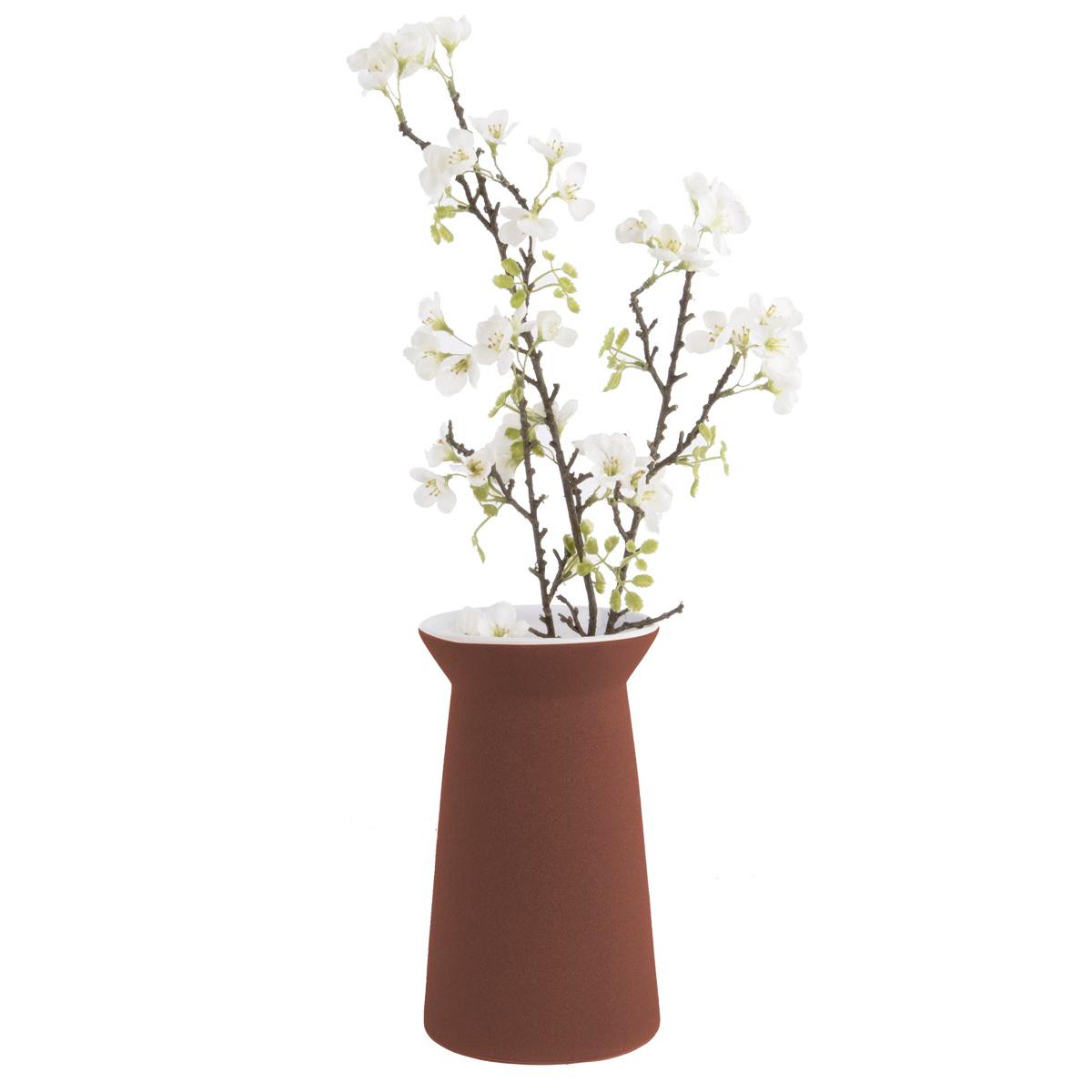 """Matte brick red ceramic vase """"Cone"""""""