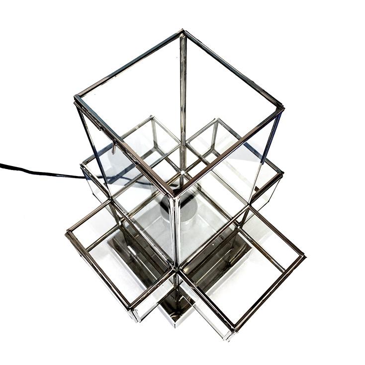 "Chroom met glas tafellamp ""Cross"""
