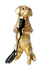 Gouden tafellamp in de vorm van een teckel puppy