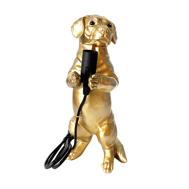 Gold dachshund puppy table lamp