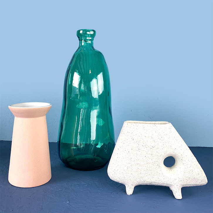 Green glass XL bottle vase