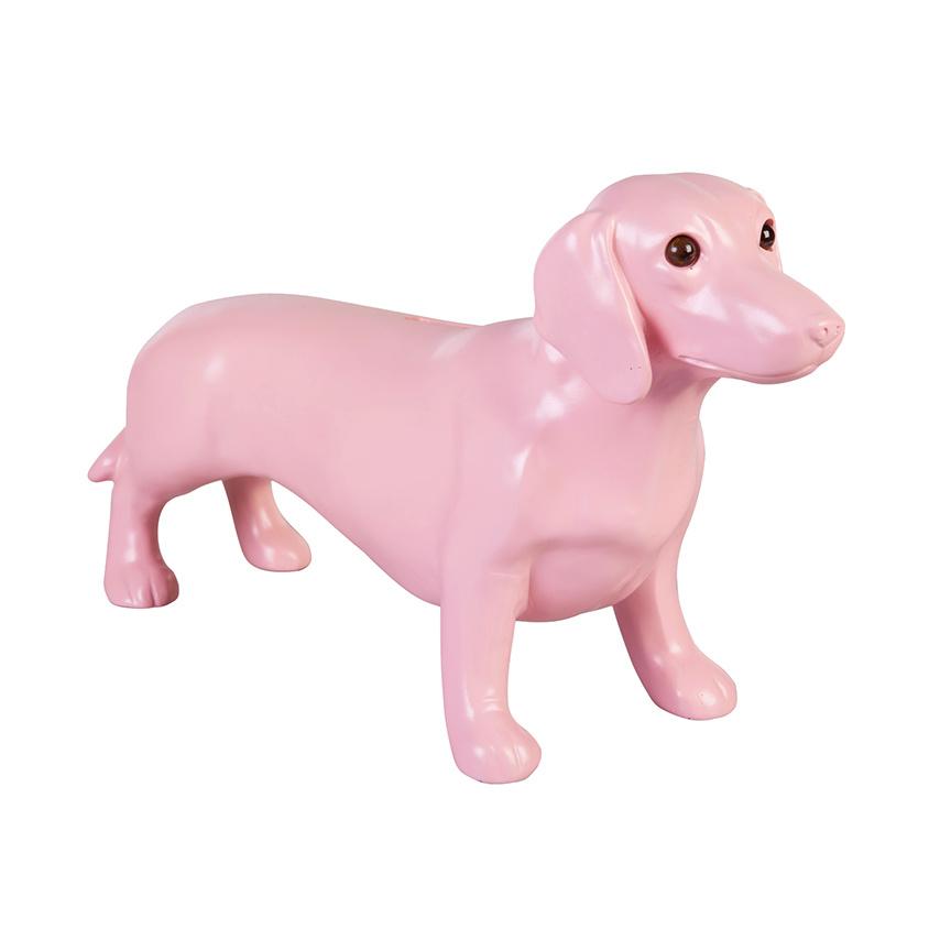 Pink dachshund money bank