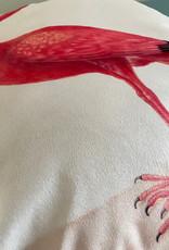 Fluweel kussen met roze ibis vogel print