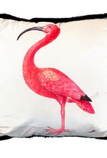 Velvet cushion with pink ibis bird