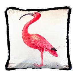Cushion with ibis bird