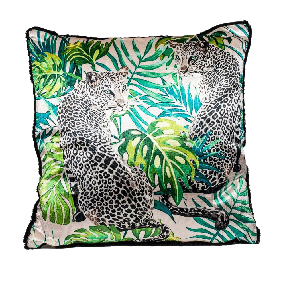Luxury sofa cushion with leopard duo print