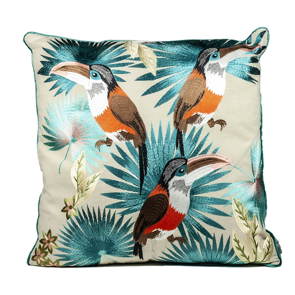 Luxury sofa ushion with embroidered toucans