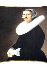 Fluweel sierkussen met vrouw portret