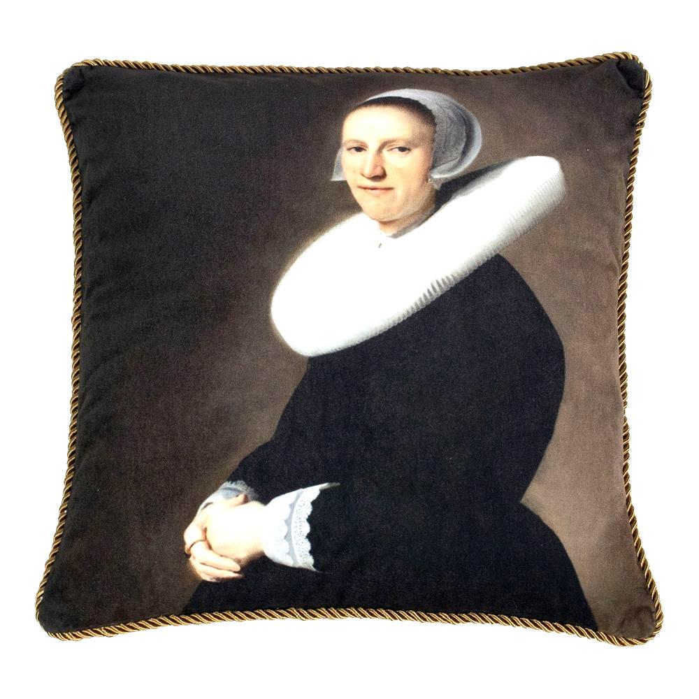 Velvet sofa cushion with lady portrait