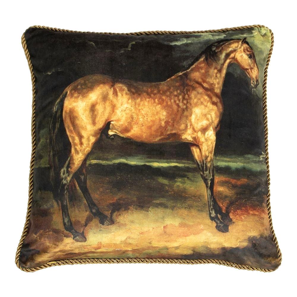 Velvet sofa cushion with brown horse print