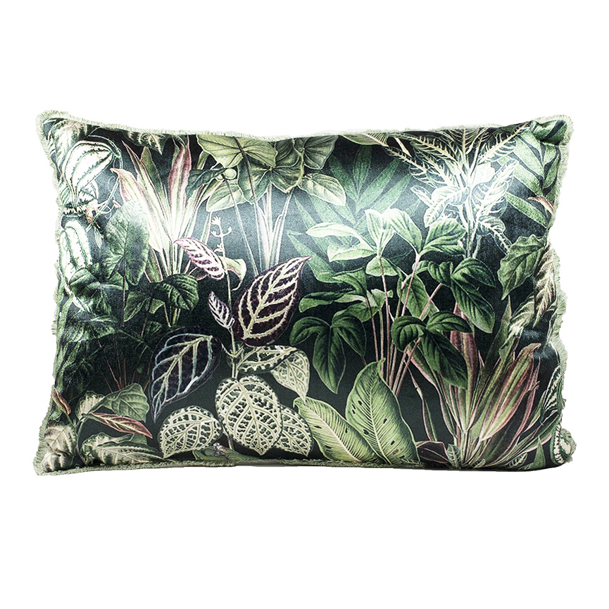 Luxury sofa cushion with wild leaves print