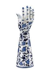 Keramieken hand kandelaar met Delfstblauw decoratie