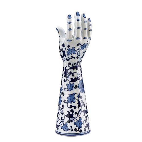 White ceramic hand candlestick with Delftblue decoration