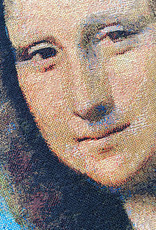 Woven sofa cushion with Mona Lisa portrait