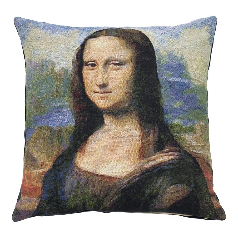 Geweven sierkussen met Mona Lisa portret