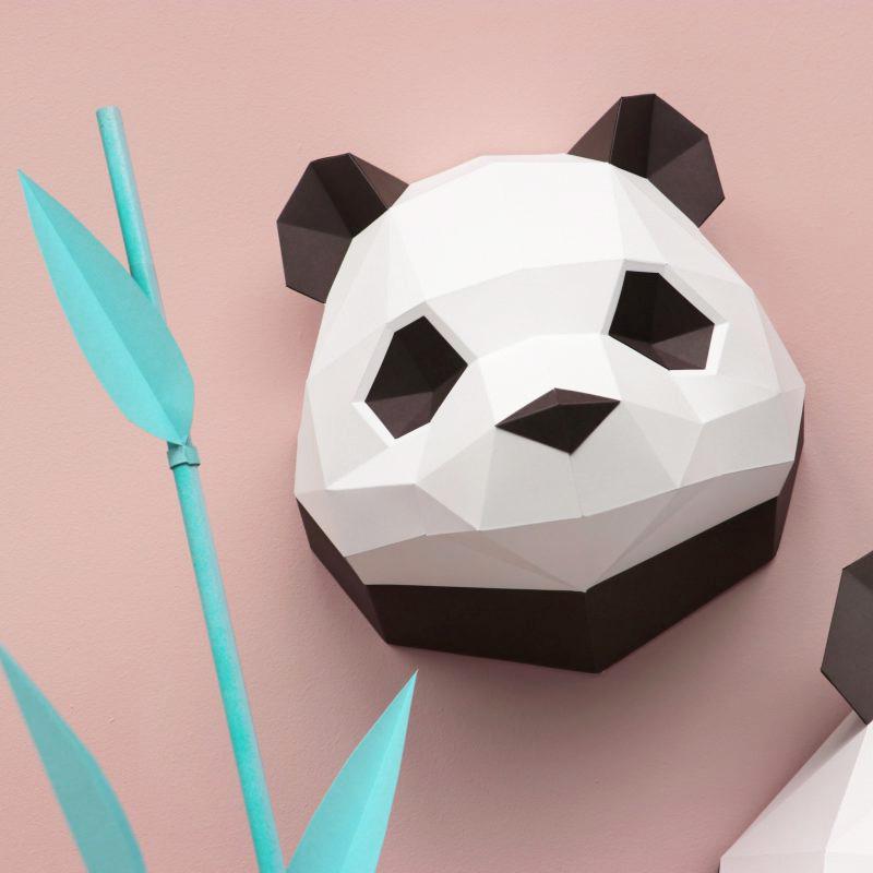 Papieren baby panda dierenkop voor aan de muur