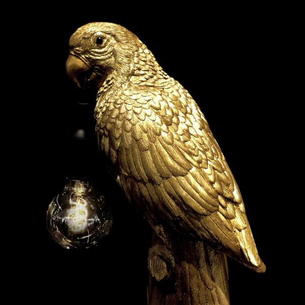 Gouden design tafellamp in de vorm van een papegaai