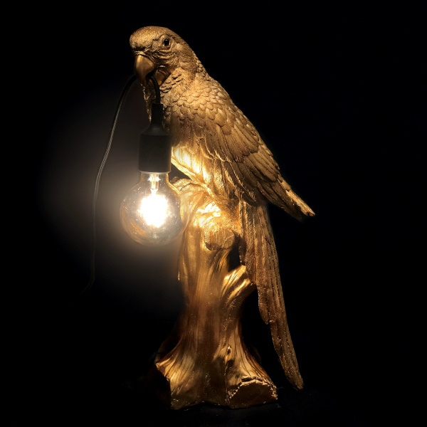Gold parrot table lamp