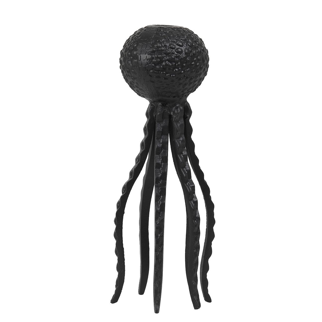Zwarte octopus kandelaar