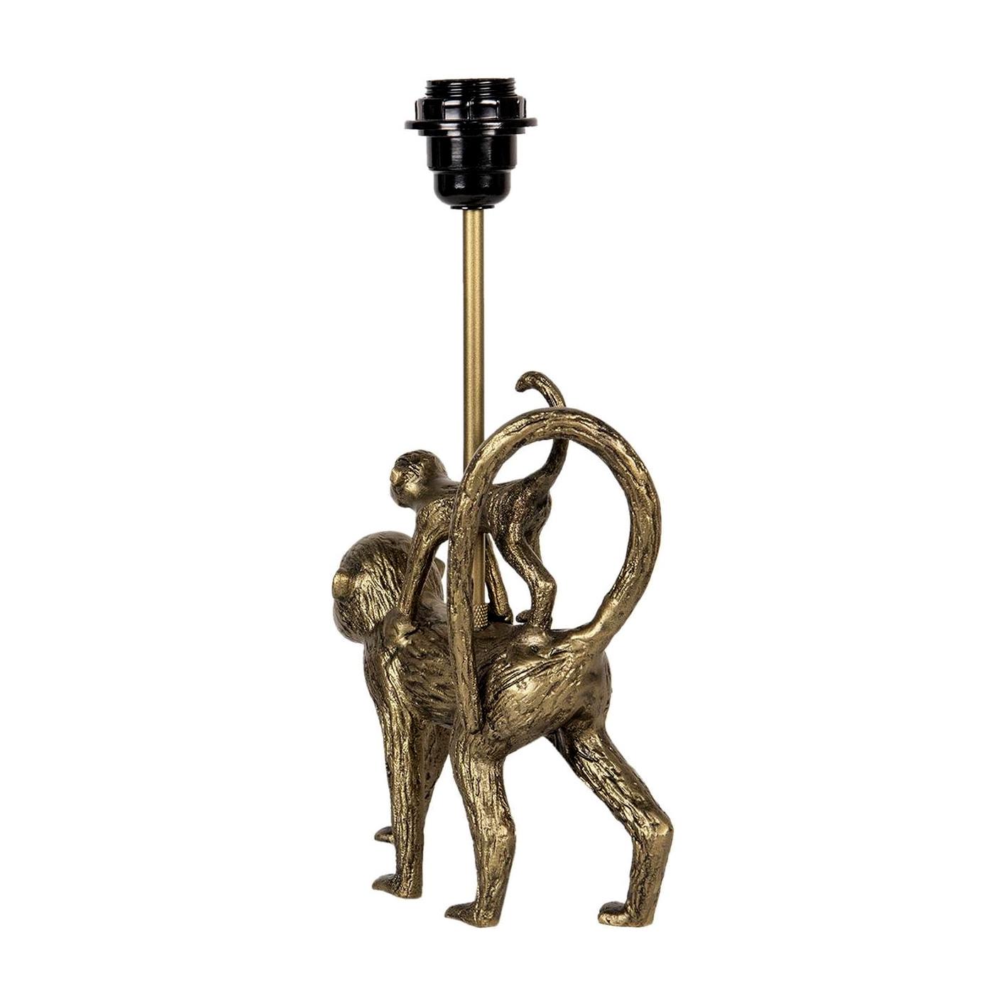 Gouden tafellamp met aapjes